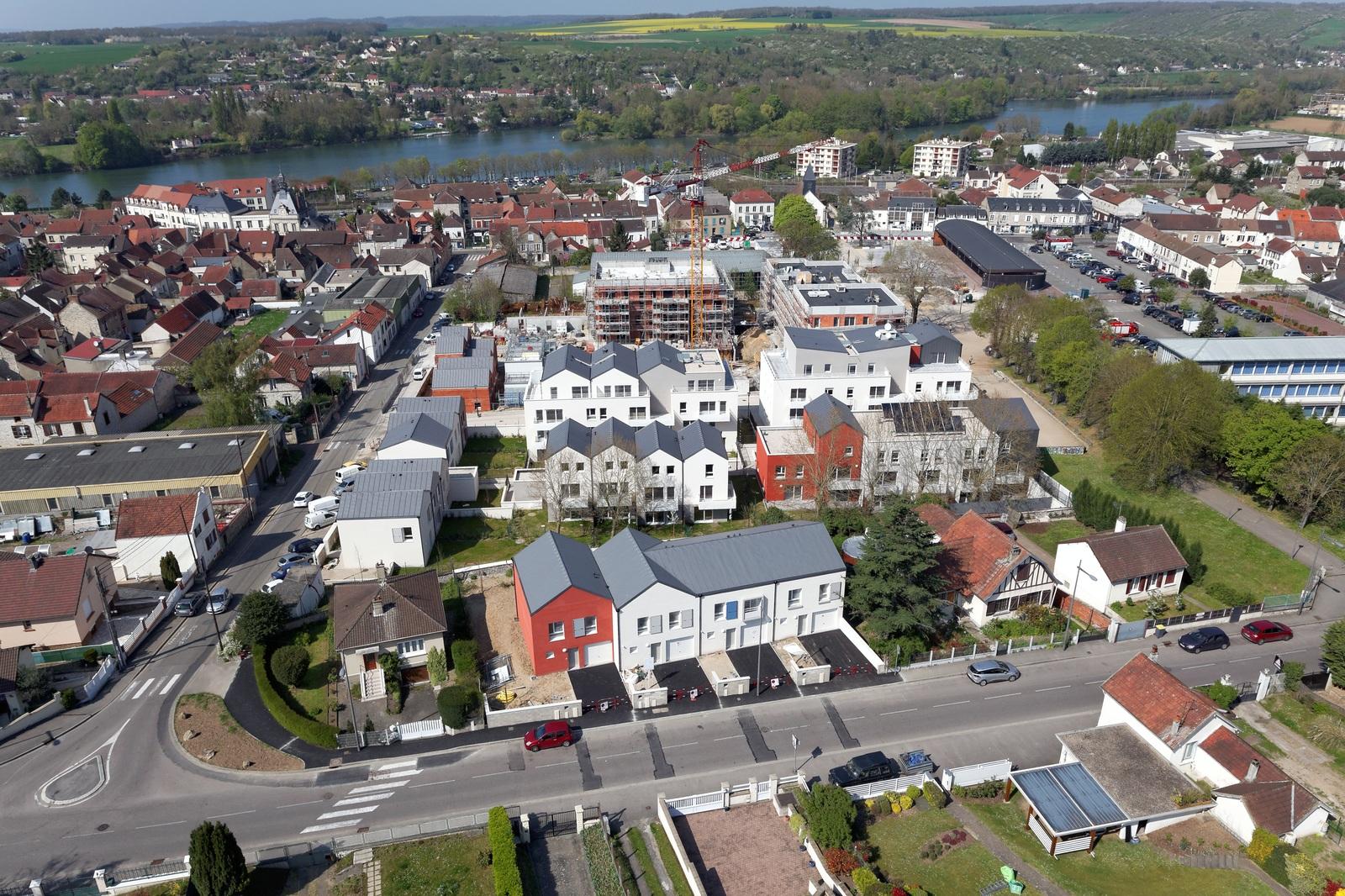 Vue aérienne du projet Coeur de Ville à Bonnières-sur-Seine
